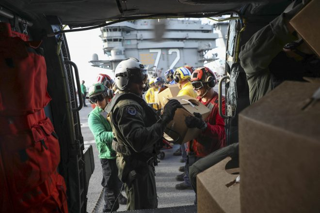 Helos from USS Abraham Lincoln Now Delivering Food and Water to Hurricane Irma Victims