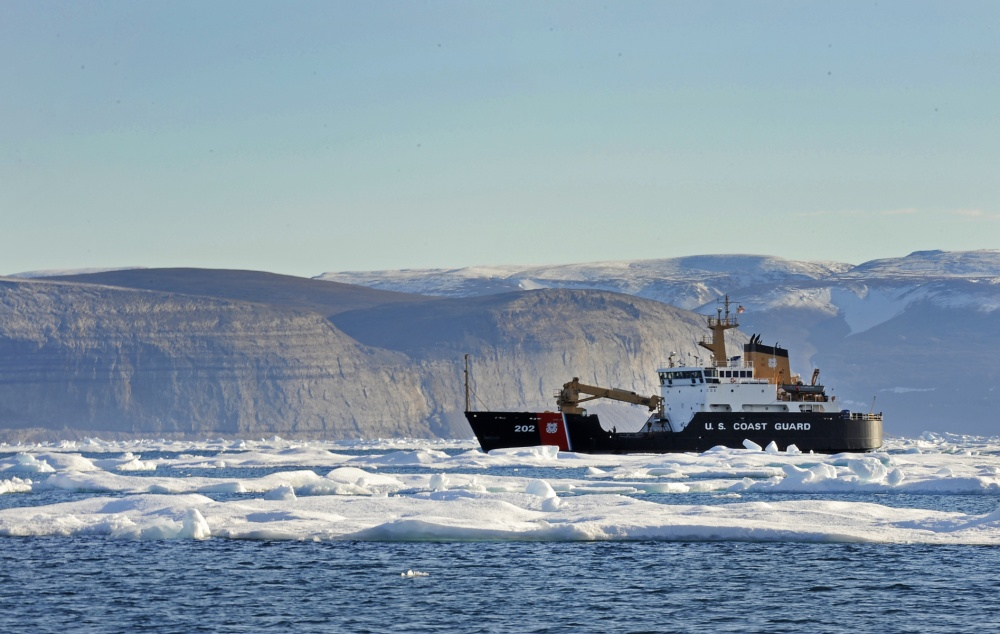 NARES STRAIGHT -- The U.S. Coast Guard Cutter Willow (WLB-202) transits near an iceberg, Aug. 23, 2011. (U.S. Coast Guard photo)