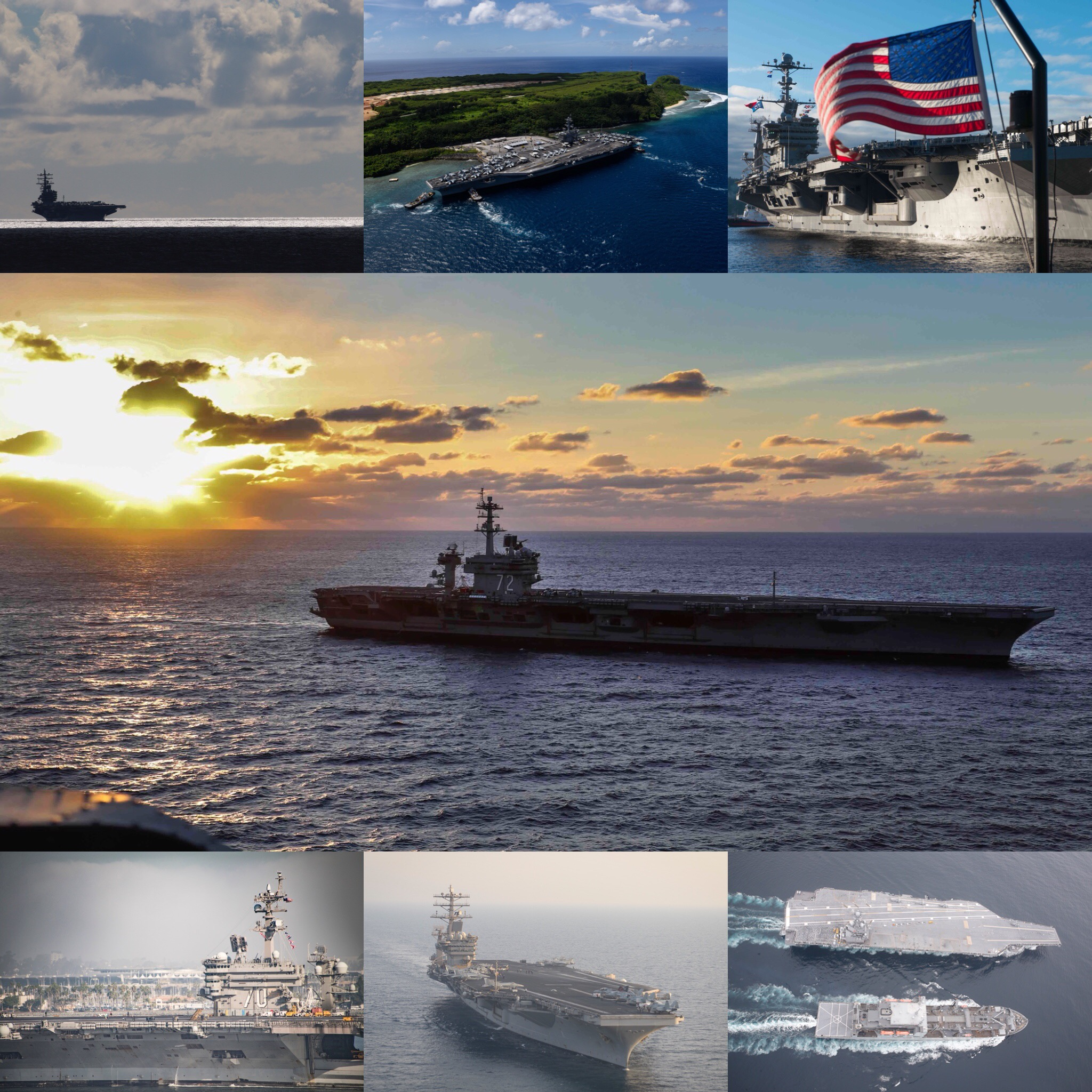 seven-u-s-aircraft-carriers-are-underway-for-the-first-time-simultaneously-in-several-years-top-uss-ronald-reagan-cvn-76-uss-theodore-roosevelt