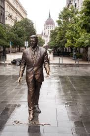 Ronald Reagan Statue in Budapest, Hungary.