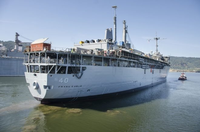 Submarine Tender USS Frank Cable Completes Drydock Maintenance, In Transit to Guam