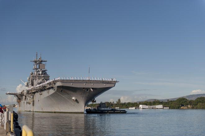 USS Wasp Stops in Pearl Harbor; Nearing New Homeport of Sasebo, Japan