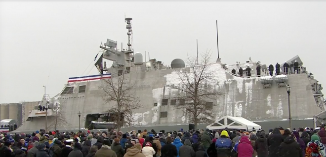 VIDEO: Littoral Combat Ship USS Little Rock Commissioned in Wintry Weather