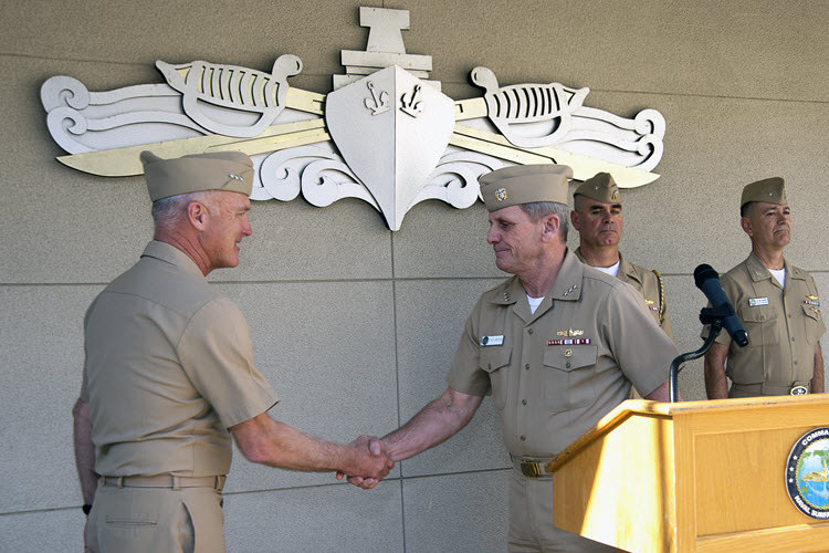 Vice Adm. Richard A. Brown relieves Vice Adm. Thomas S. Rowden as Commander, Naval Surface Forces (SURFOR) and Commander, Naval Surface Force, U.S. Pacific Fleet at Naval Amphibious Base Coronado. (Navy photo)
