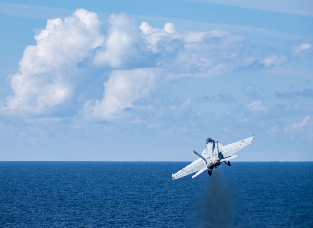 "An F/A-18F Super Hornet assigned to the ""Blacklions"" of Strike Fighter Squadron (VFA) 213 launches from USS George H.W. Bush (CVN 77) during exercise Saxon Warrior 2017."