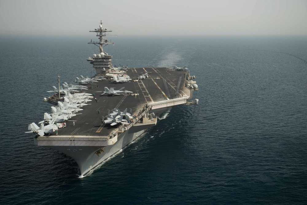 The aircraft carrier USS Theodore Roosevelt (CVN-71) transits the Arabian Gulf. (US Navy photo)
