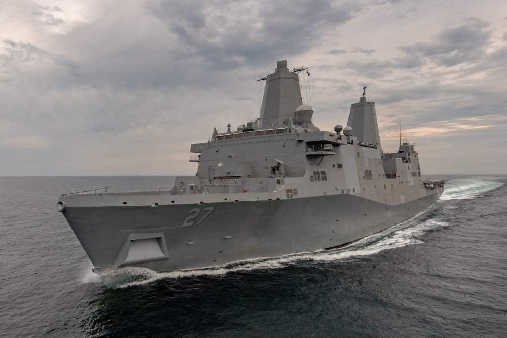 USS Portland (LPD-27) during sea trials in July 2017 (Navy photo).