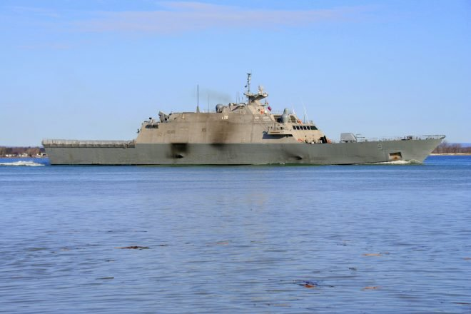 Littoral Combat Ship USS Little Rock Leaves Montreal After Three Months Trapped in Ice