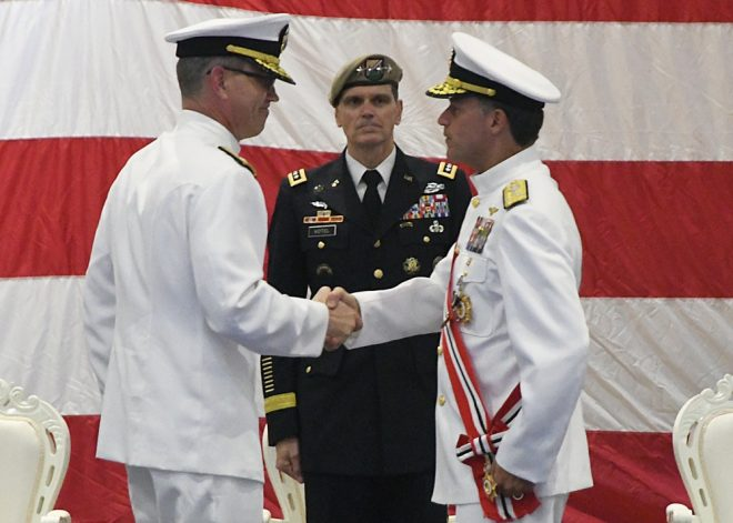 VADM Stearney Takes Command of 5th Fleet; RADM Corey Takes Over PEO Unmanned Aviation and Strike Weapons