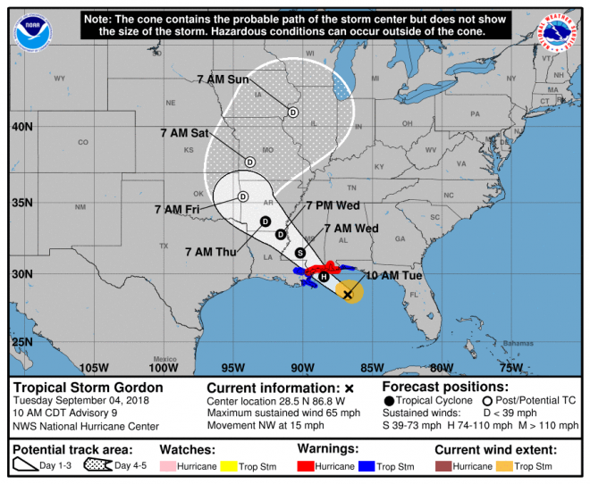 Gulf Coast Shipyards, Navy Monitoring Tropical Storm Gordon's Path