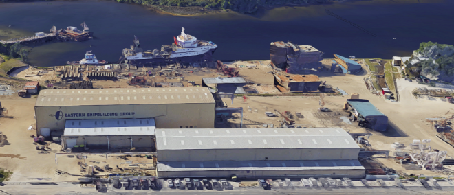 Coast Guard, Shipbuilder Assessing Hurricane Damage to Yard Building Offshore Patrol Cutter