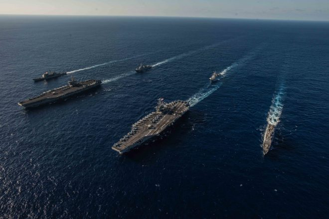 VIDEO: Reagan, Stennis Carrier Strike Groups Conduct Dual Operations In Philippine Sea
