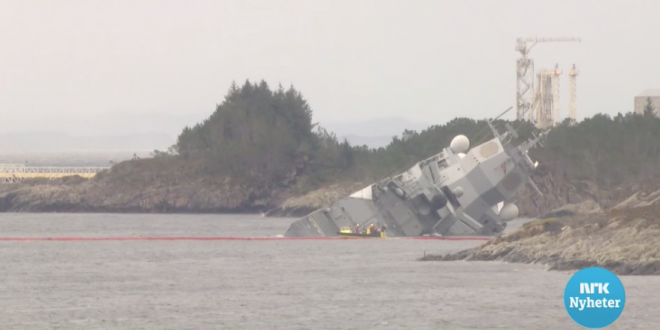 VIDEO: Norwegian Frigate Intentionally Grounded After Collision with Tanker