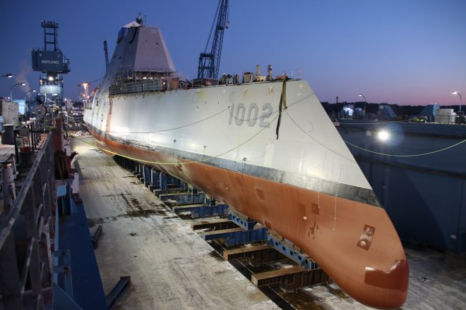 Second Zumwalt Destroyer Arrives in San Diego; Third Launches in Maine