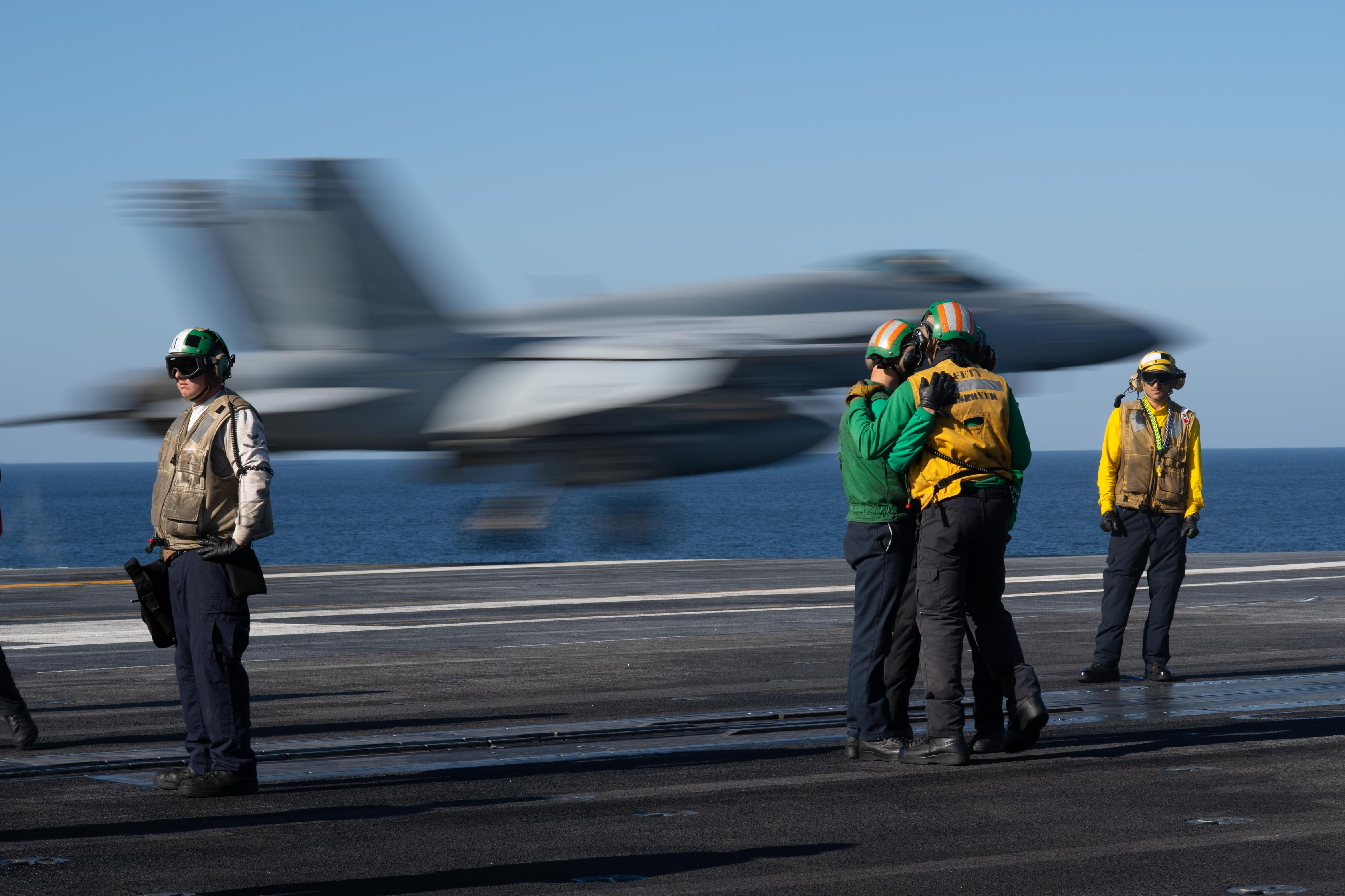 U S  Carrier in Middle East Focused on Missions Over Afghanistan