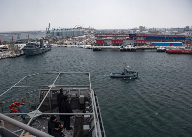 USS Fort McHenry Visits Romania While Russian Frigate Watches