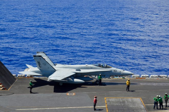 Navy's Last F-18 Hornet Squadron Sundowns Ahead of Transition to Super Hornet