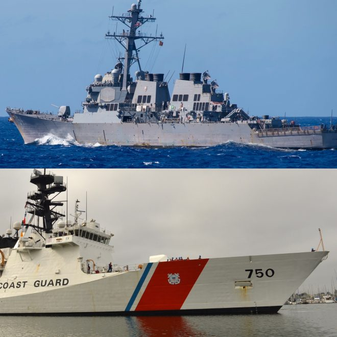 U.S. Navy Destroyer, Coast Guard Cutter Transit Taiwan Strait