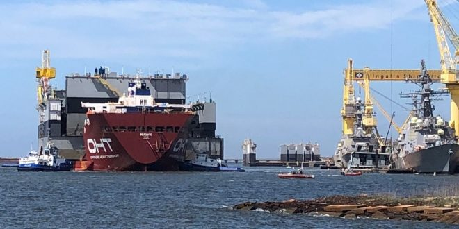 UPDATED: Destroyer Damaged by Barge in Pier-Side Incident at Ingalls Shipbuilding
