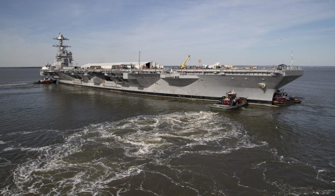 USS Gerald R. Ford Weapons Elevator Certifications Will Extend Past October