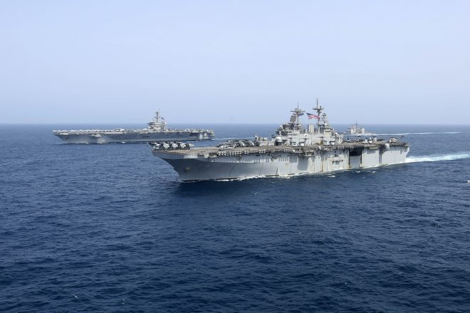 Lincoln Strike Group and Kearsarge ARG Exercise Together Outside Persian Gulf