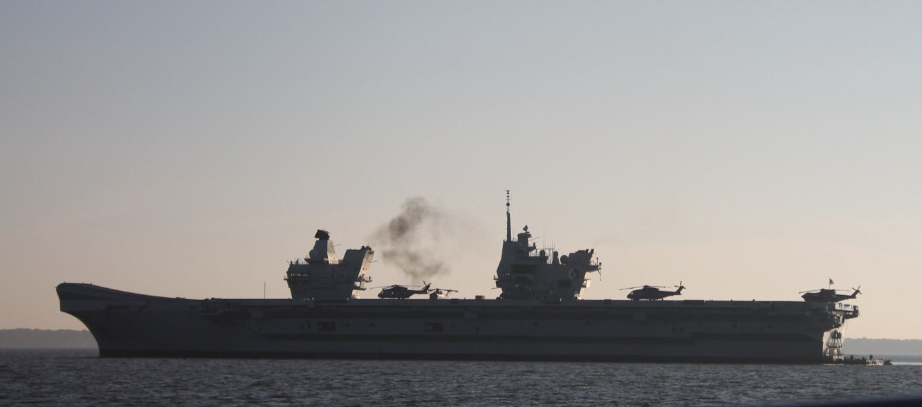 HMS Queen Elizabeth (R08) in the Chesapeake Bay, outside Annapolis