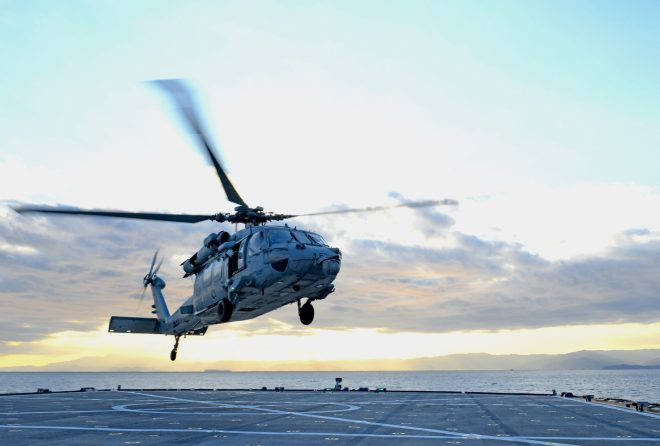 Navy MH-60S Helicopter Crashes in the Philippine Sea off Okinawa, Crew Rescued