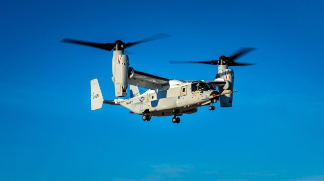 Navy CMV-22B Osprey Design Completes First Flight