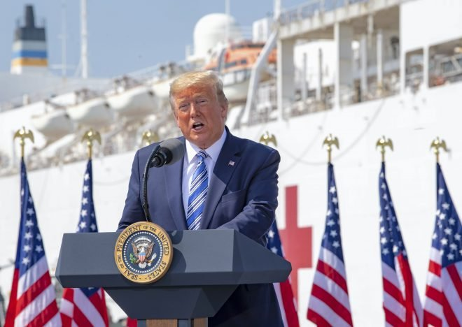 Trump Gives USNS Comfort a Send-Off as Hospital Ship Departs for New York