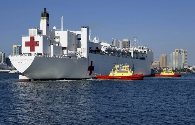 Hospital Ship USNS Mercy Tied Up in Maintenance, Can't Deploy for COVID Relief