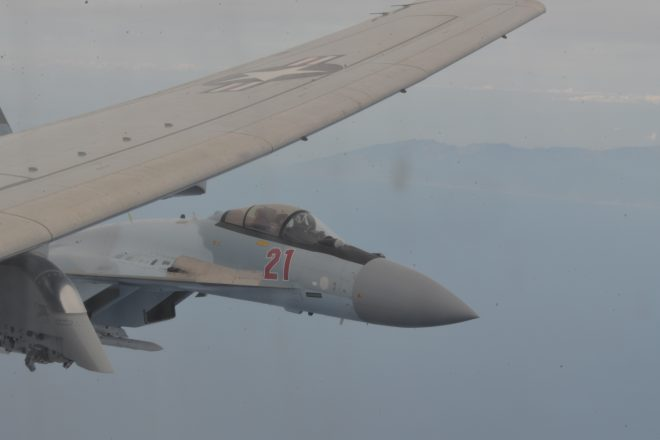VIDEO: Two Russian Fighters Make Unsafe Intercept of Navy P-8A Over Eastern Med