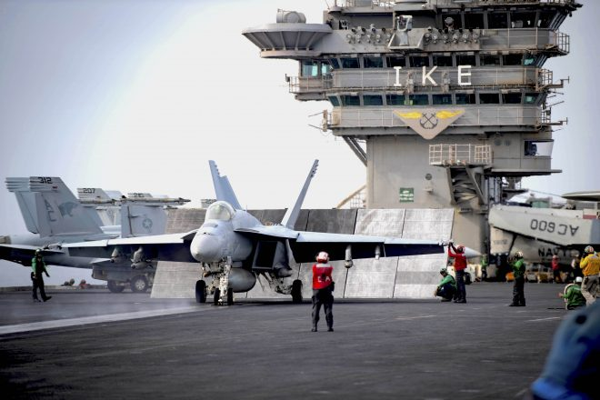 Carrier Eisenhower, Cruiser Break At-Sea Record, While Navy Opens 'Safe Haven' Liberty Ports