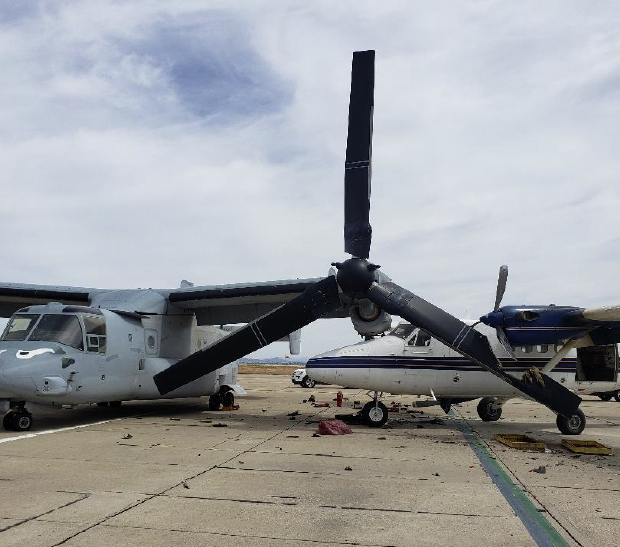 Skydiving Plane Rolls into Parked MV-22B Osprey at San Diego Airfield, Damaging Both