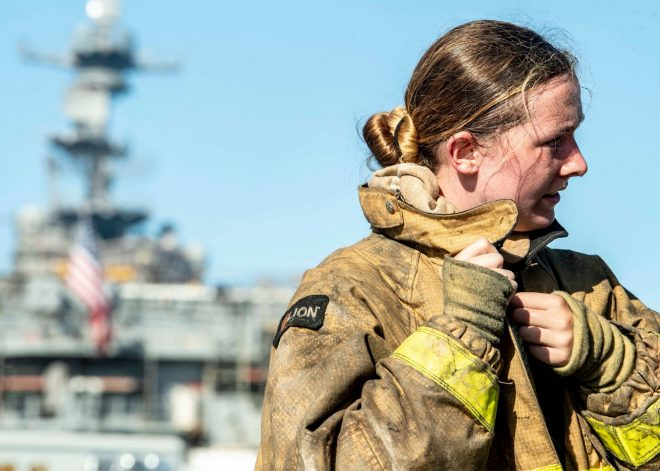 On Day 4, Fire Crews on USS Bonhomme Richard Battle Hot Spots and Flare Ups