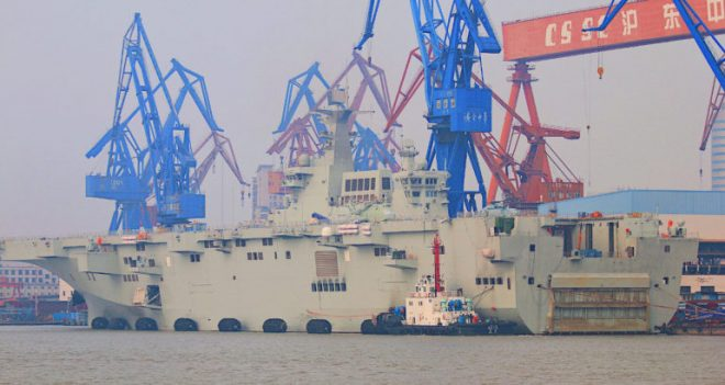Chinese Type 075 Big Deck Amphib Preparing for Sea Trials