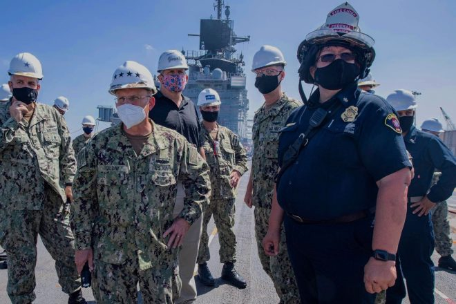 CNO Gilday Promises 'Thorough' Investigation After Seeing Fire Damaged USS Bonhomme Richard