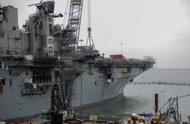 Salvage Company Begins Removing Island on USS Bonhomme Richard Ahead of Towing, Dismantling