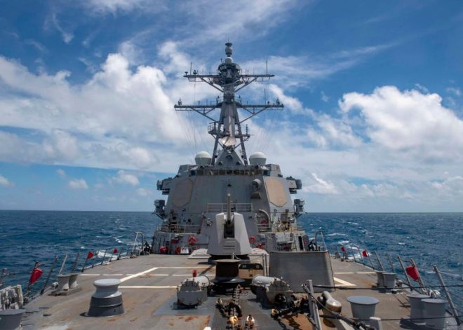 Destroyer USS Mustin Transits Taiwan Strait Following Operations with Japanese Warship