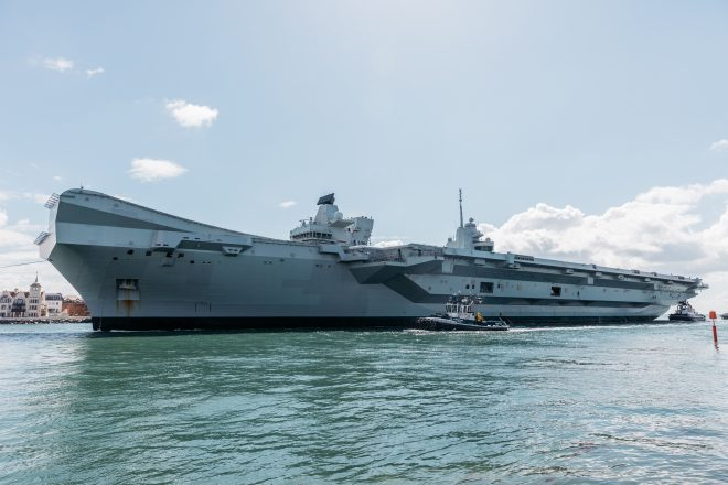 British Carrier HMS Queen Elizabeth Underway Ahead of Training with Marine F-35s