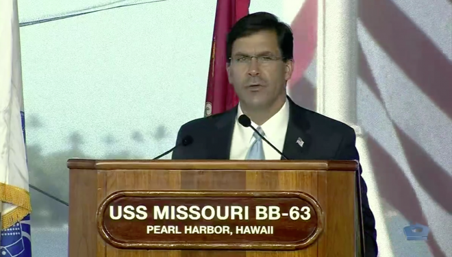 SECDEF Esper Commits to U.S. Role in Pacific at 75th Anniversary of WWII's End