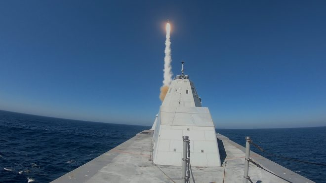 VIDEO: USS Zumwalt Test Fires Missile for the First Time