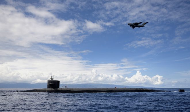 VIDEO: Ballistic Missile Submarine Tests Aerial Resupply With Air Force C-17, Drone