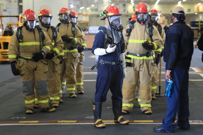 Two-Carrier Fire Drill Trains Sailors to Avoid Problems Found in Early Moments of Bonhomme Richard Fire