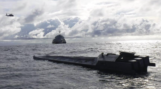 LCS USS Gabrielle Giffords Nabs Narco Sub in the Pacific
