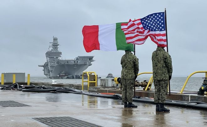 Italian Aircraft Carrier ITS Cavour Visits Norfolk Ahead of F-35B Testing