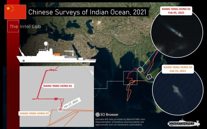 Two Chinese Survey Ships are Probing a Strategic Section of the Indian Ocean