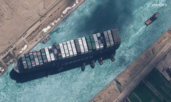 Pentagon Said it Was Ready for Extended Suez Canal Blockage