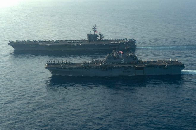 U.S. Carrier Strike Group, Amphibious Warships Massed in South China Sea as Regional Tensions Simmer