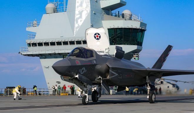 Marine F-35Bs Land Aboard HMS Queen Elizabeth for Strike Warrior Exercise, Deployment