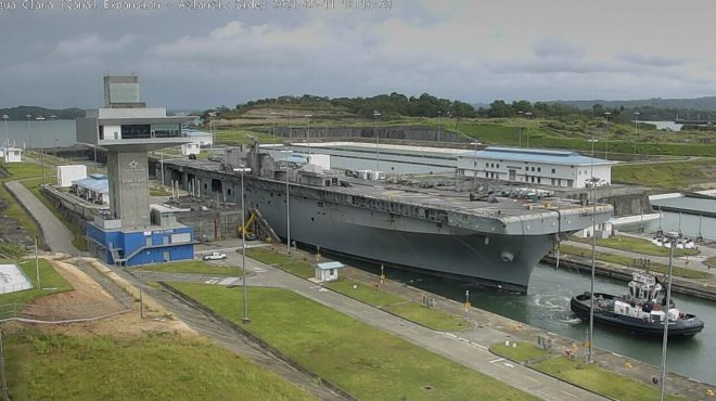 Bonhomme Richard Hull in the Caribbean Sea After Panama Canal Transit